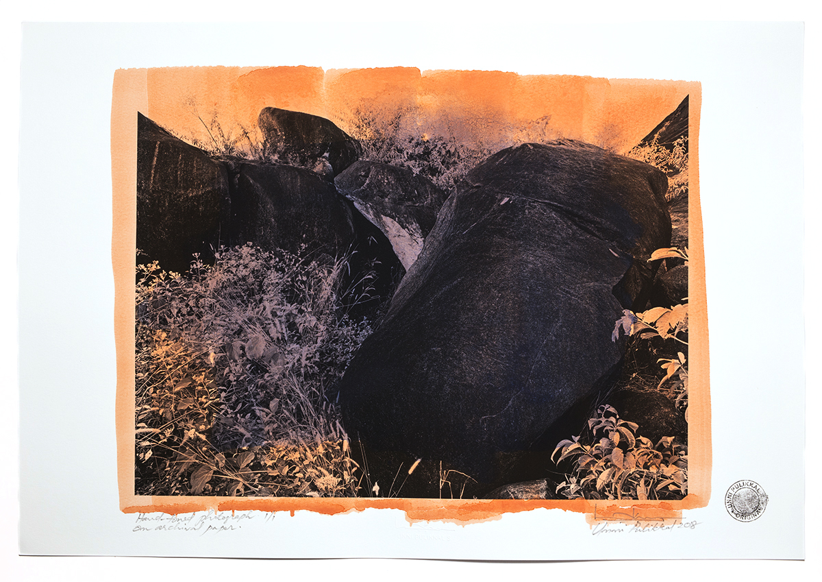 'The Rock at Anappara', 2018, pigment stained photograph,13 x 19 in, unique Edn.