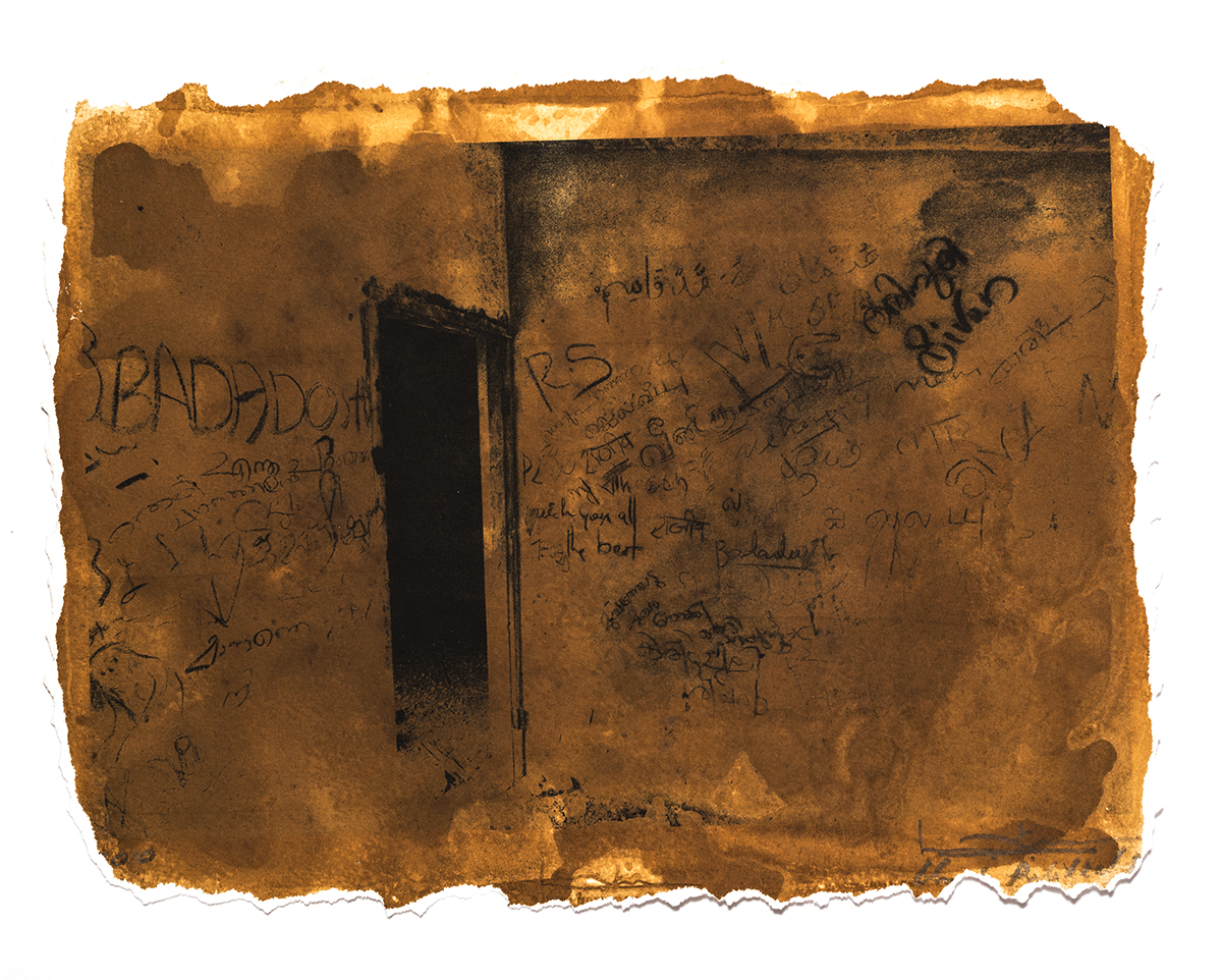 'The Wall of an Abandoned House in Anappantham', printed 2010, stained 2019, pigment stained photograph,11 x 8 in, unique Edn.